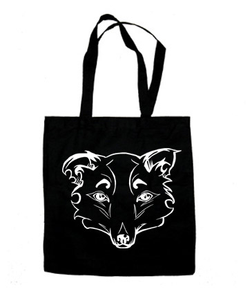 Mysterious Wise Kitsune Tote Bag - Black