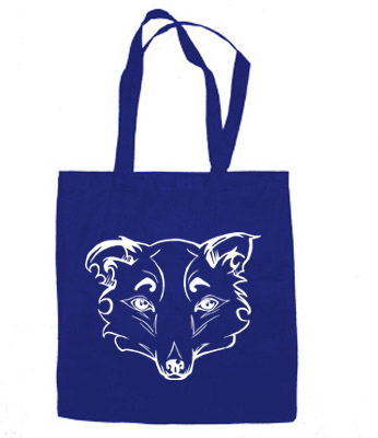 Mysterious Wise Kitsune Tote Bag - Royal Blue