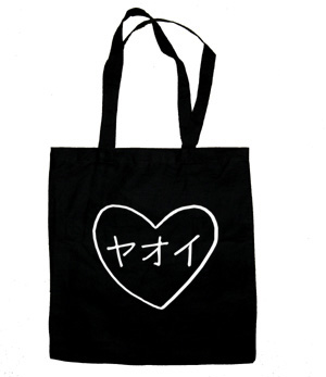 Yaoi Heart Katakana Tote Bag (white/black)