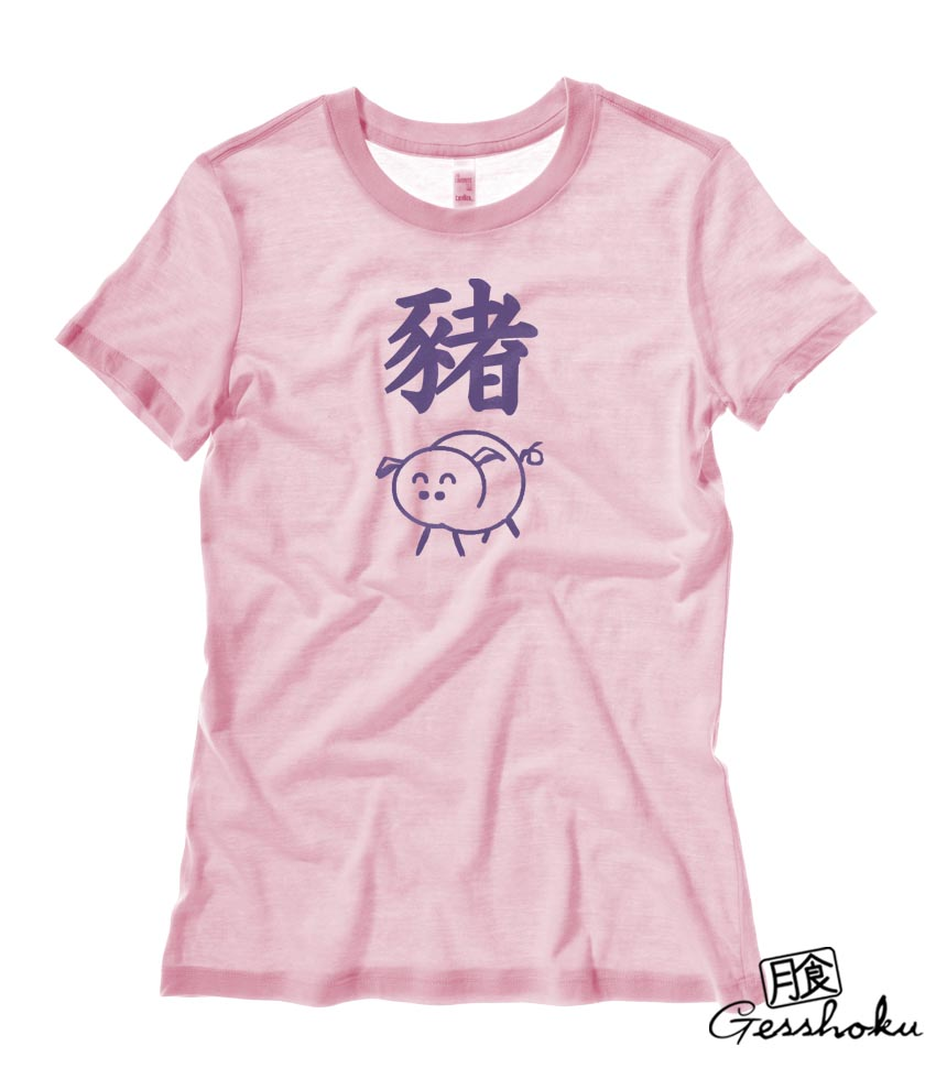 Year of the Pig Chinese Zodiac Ladies T-shirt - Light Pink