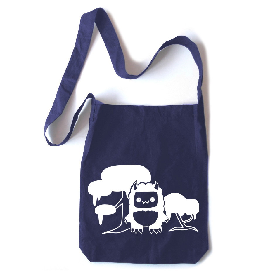 Tricky Yeti's Magical Forest Crossbody Tote Bag - Navy Blue