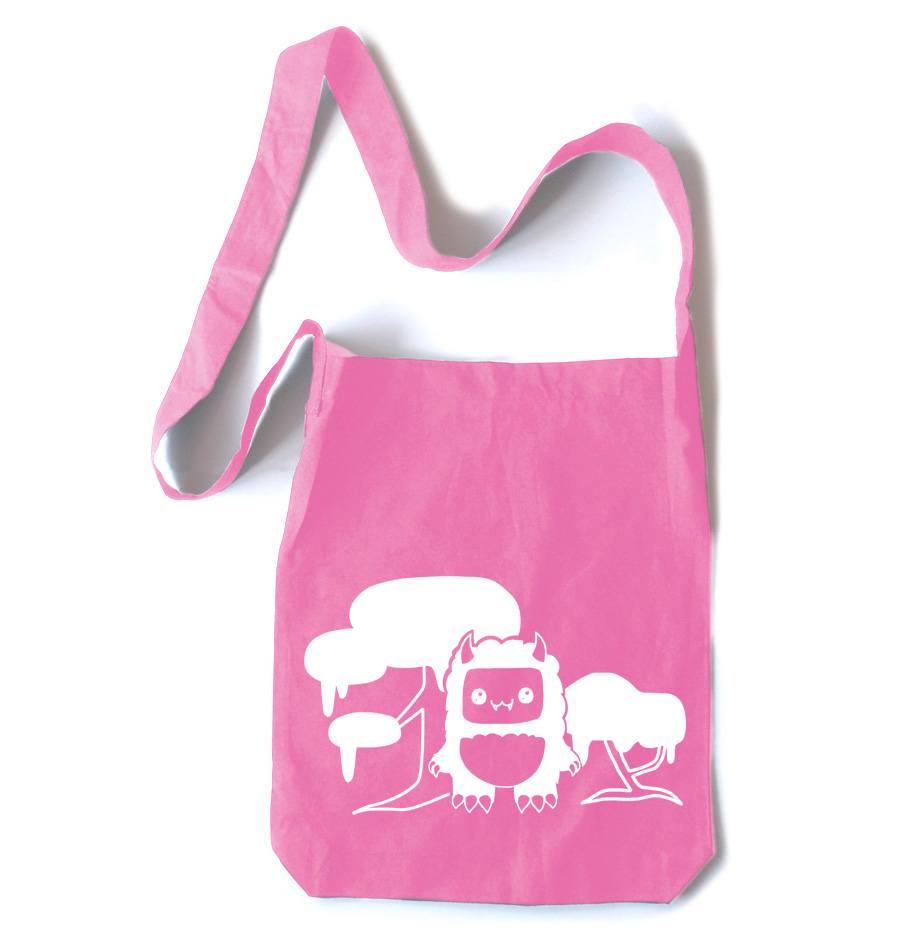 Tricky Yeti's Magical Forest Crossbody Tote Bag - Pink