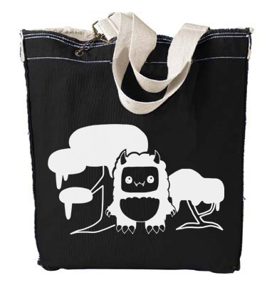 Tricky Yeti's Magical Forest Designer Tote Bag - Black