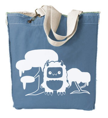 Tricky Yeti's Magical Forest Designer Tote Bag - Ocean Blue