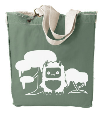 Tricky Yeti's Magical Forest Designer Tote Bag - Leaf Green