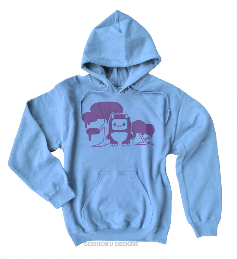 Tricky Yeti's Magical Forest Pullover Hoodie - Light Blue