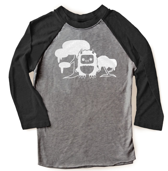 Tricky Yeti's Magical Forest Raglan T-shirt - Black/Charcoal Grey