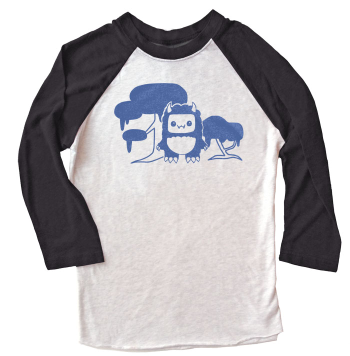 Tricky Yeti's Magical Forest Raglan T-shirt - Black/White