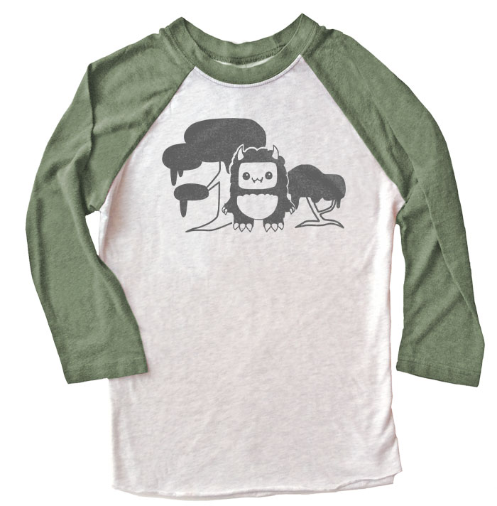 Tricky Yeti's Magical Forest Raglan T-shirt - Olive/White