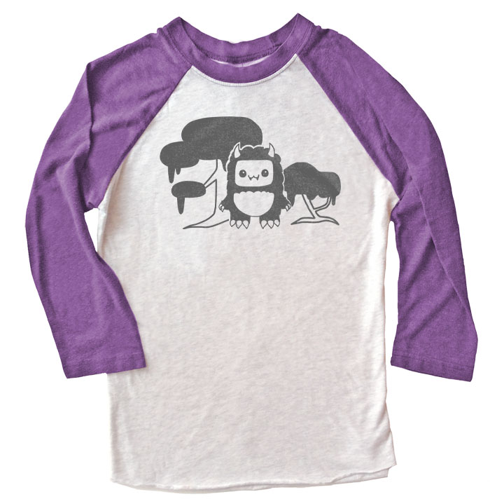 Tricky Yeti's Magical Forest Raglan T-shirt - Purple/White