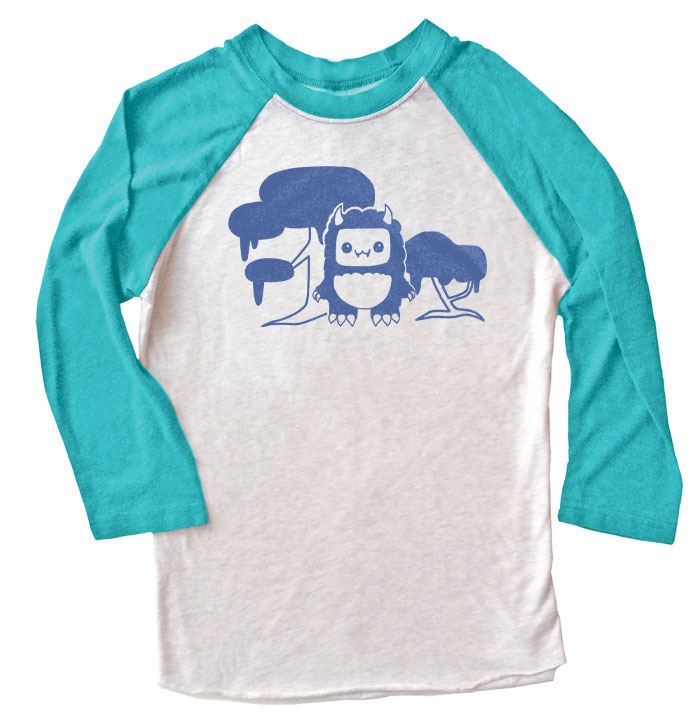 Tricky Yeti's Magical Forest Raglan T-shirt - Teal/White