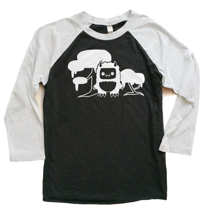 Tricky Yeti's Magical Forest Raglan T-shirt - White/Black