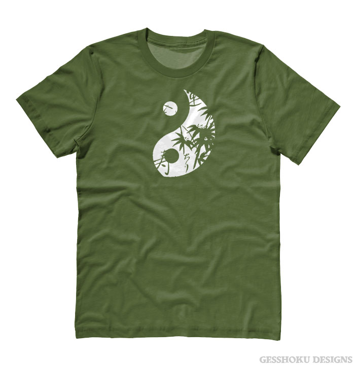 Asian Pattern Yin Yang T-shirt - Olive Green