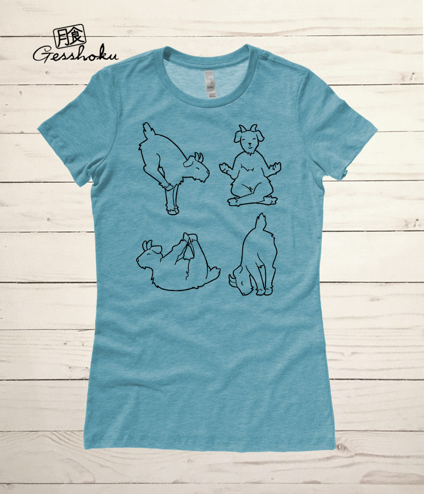 Yoga Goats Ladies T-shirt - Heather Teal